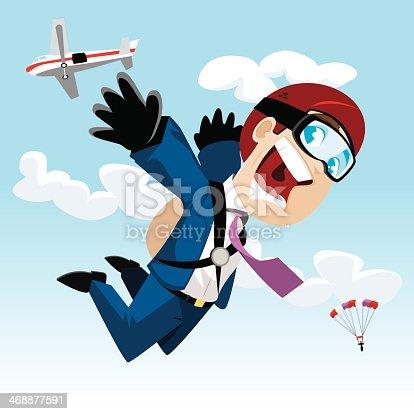 businessman skydiving