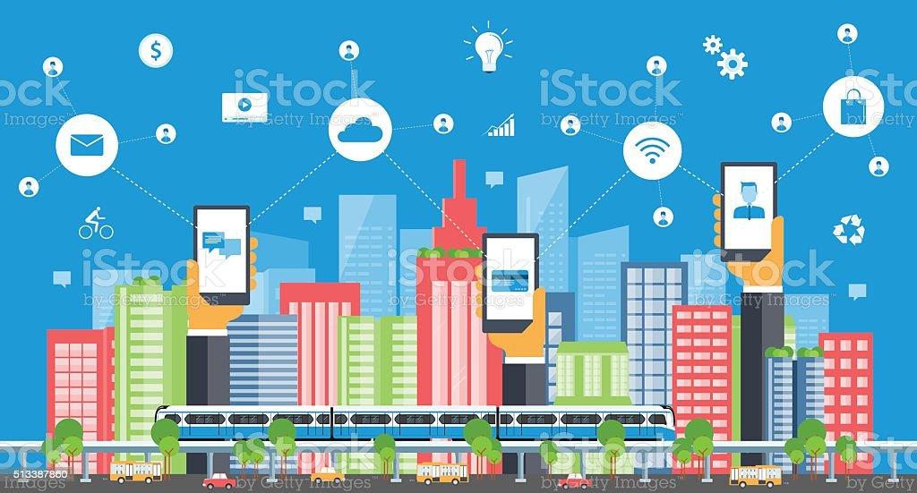 business smart city.internet connection.social concept vector art illustration