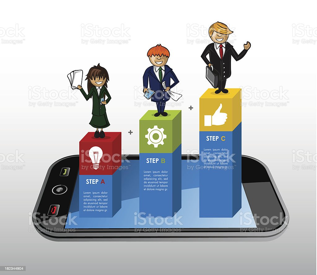 Business smart phone application infographics cartoon illustration. royalty-free stock vector art