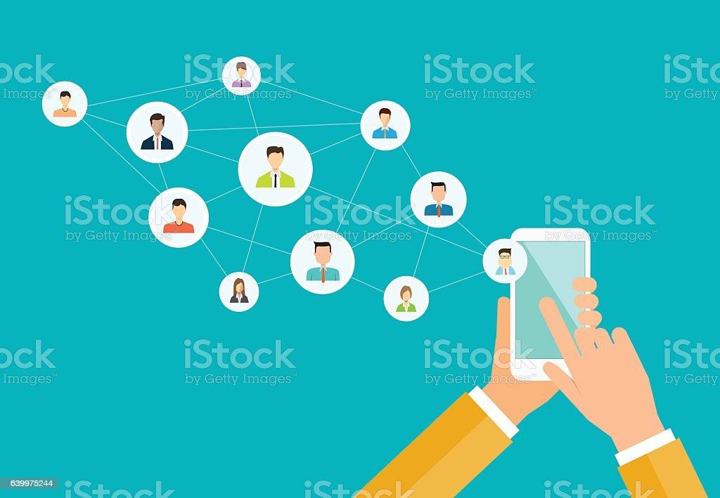 business social network on mobile concept - ilustración de arte vectorial
