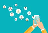 business social network on mobile concept