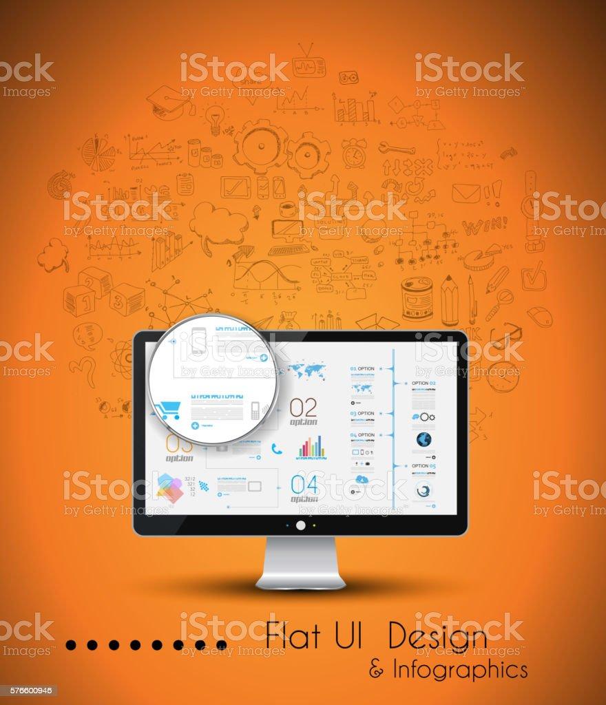 ビジネスソリューションとアイデアの概念の背景デスクトップ pc の