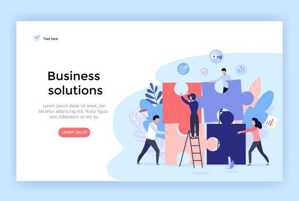 Business solution concept illustration. Business solution concept illustration, perfect for web design, banner, mobile app, landing page, vector flat design collaboration stock illustrations