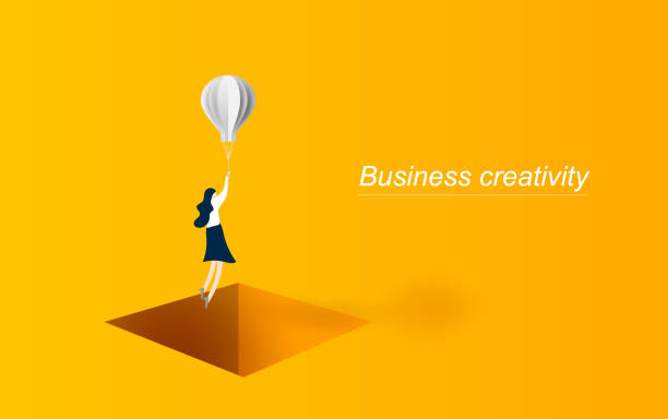 ilustrações de stock, clip art, desenhos animados e ícones de business solution concept woman flying with balloon  over hole box. symbol of innovation. graphic design paper cut and art style for card, poster. yellow. vector illustration. eps10 - mulher balões