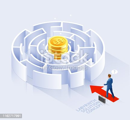 Business solution conceptual design. Businessman standing at labyrinth vector illustration.