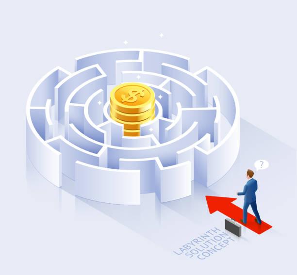Konzeption der Geschäftslösung. Geschäftsmann steht an Labyrinth Vektor-Illustration. – Vektorgrafik