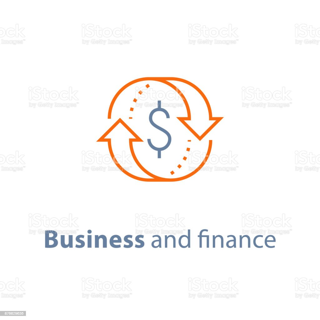 Business solution, finance insurance service, currency exchange, mortgage loan refinance, fund management, return on investment Currency exchange, cash back, quick loan, mortgage refinance, refund, insurance concept, fund management, business solution, finance service, return on investment, stock market, vector line icon Accountancy stock vector