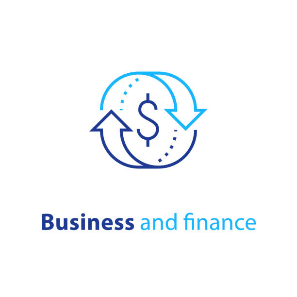 Business solution, finance insurance service, currency exchange, mortgage loan refinance, fund management, return on investment Currency exchange, cash back, quick loan, mortgage refinance, refund, insurance concept, fund management, business solution, finance service, return on investment, stock market, vector line icon time is money stock illustrations