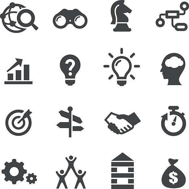 business solution icons - acme series - arrow vector icon set stock illustrations, clip art, cartoons, & icons