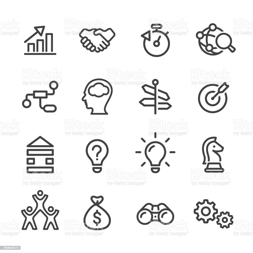 Business Solution Icons - Line Series Business, Solution, Innovation, Teamwork, Marketing Arrow Symbol stock vector