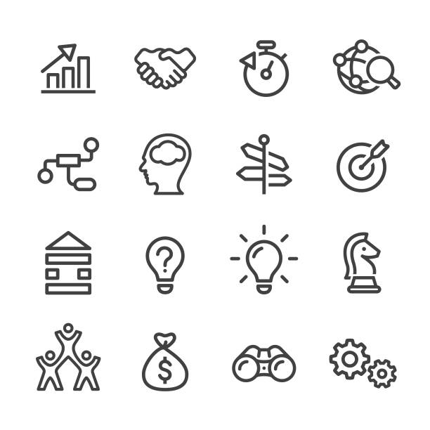 illustrations, cliparts, dessins animés et icônes de business solution icons - série en ligne - activité