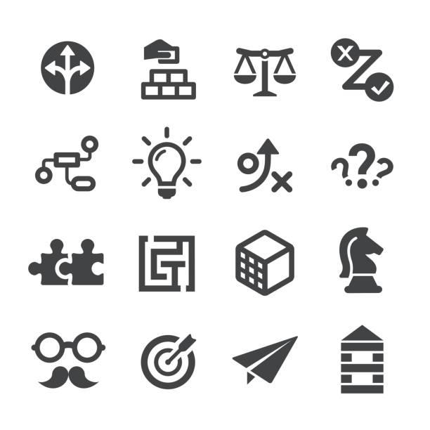 business lösung icons set - acme-serie - gelöst stock-grafiken, -clipart, -cartoons und -symbole