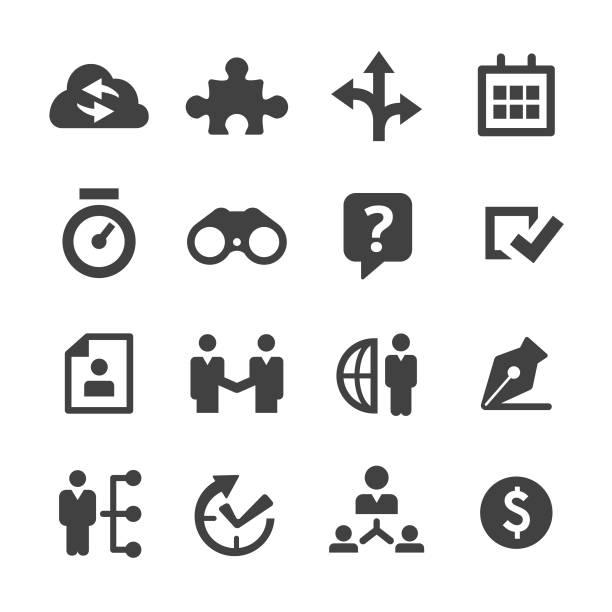 Business Solution Icons Set - Minimal Series Business, Solution, marketing, planning, teamwork binoculars stock illustrations