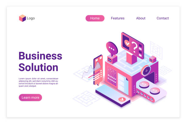 Business solution isometric vector landing page template vector art illustration