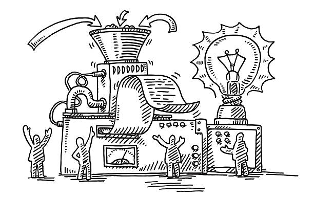 Business Solution Machine Light Bulb Drawing Hand-drawn vector drawing of a Business Solution Machine with a big Light Bulb. Black-and-White sketch on a transparent background (.eps-file). Included files are EPS (v10) and Hi-Res JPG. business stock illustrations