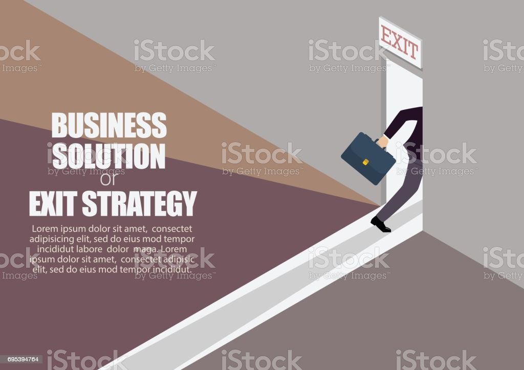 Business solution or exit strategy infographic vector art illustration
