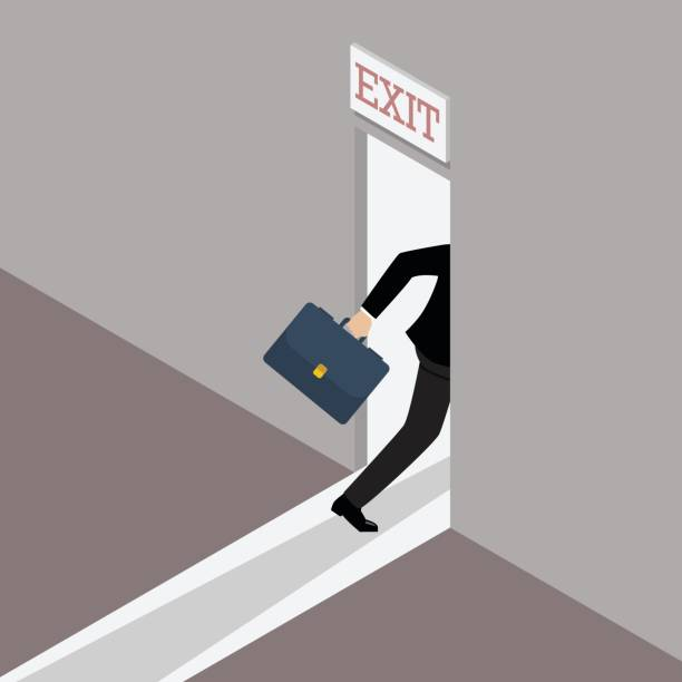 Business solution or exit strategy Business solution or exit strategy. Businessman runs to the exit door escaping stock illustrations