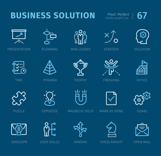 Business Solution - Outline icons with captions Business Solution - 20 three-color outline icons with captions / Pixel Perfect Set #67 / Icons are designed in 48x48pх square, outline stroke 2px.  First row of outline icons contains: Presentation, Planning, Man Leader, Strategy, Solution;       Second row contains: Time, Pyramid, Trophy, Finishing, Office;     Third row contains: Puzzle, Expertise, Magnetic Field, Mark as Done, Gears;  Fourth row contains: Envelope, User Skills, Arrows, Chess Knight, Open Mail.  Complete Captico icons collection - https://www.istockphoto.com/collaboration/boards/L98ewPMHpUStg1uF0pmcYg chess knight silhouette stock illustrations