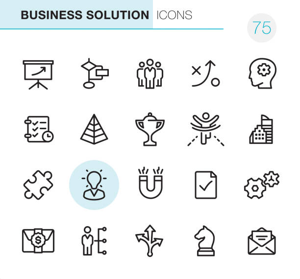 Business Solution - Pixel Perfect icons 20 Outline Style - Black line - Pixel Perfect icons / Set #75 Icons are designed in 48x48pх square, outline stroke 2px.  First row of outline icons contains:  Projection Screen, Planning Chart, Man leader icon, Strategy, Solution;   Second row contains:  Time Management, Pyramid Chart, Trophy, Crossing the finish line, Office Building;  Third row contains:  Puzzle, Expertise, Magnetic Field, Mark as done, Gears;   Fourth row contains:  Money Envelope, User Skills, Choice of the way arrows, Chess Knight, Open E-mail Envelope.  Complete Primico collection - https://www.istockphoto.com/collaboration/boards/NQPVdXl6m0W6Zy5mWYkSyw chess knight silhouette stock illustrations