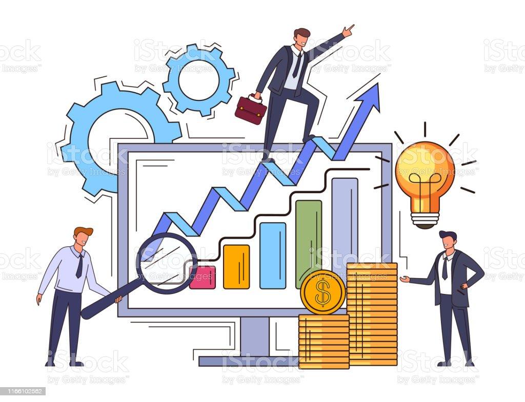 Business solution successful business teamwork line art concept....