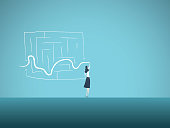 Business solution vector concept with business woman finding way through maze. Symbol of genius, intelligent woman, challenge, opportunity, planning, strategy