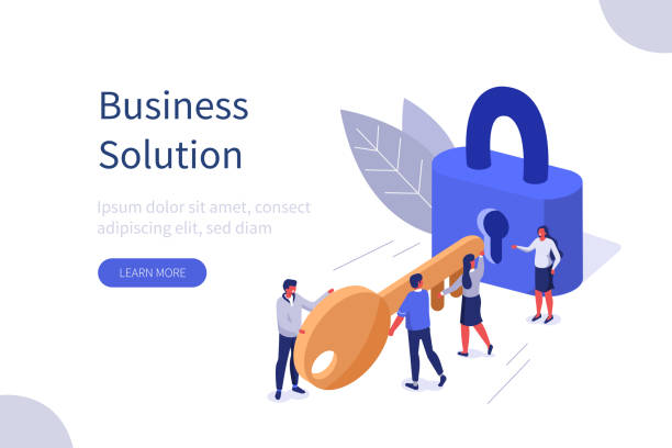 business solution Business Team Holding Golden Key and Unlocking the Lock. Successful Businessman and Businesswoman  Working Together. Business Solution Concept. Flat Isometric Vector Illustration. unlocking stock illustrations