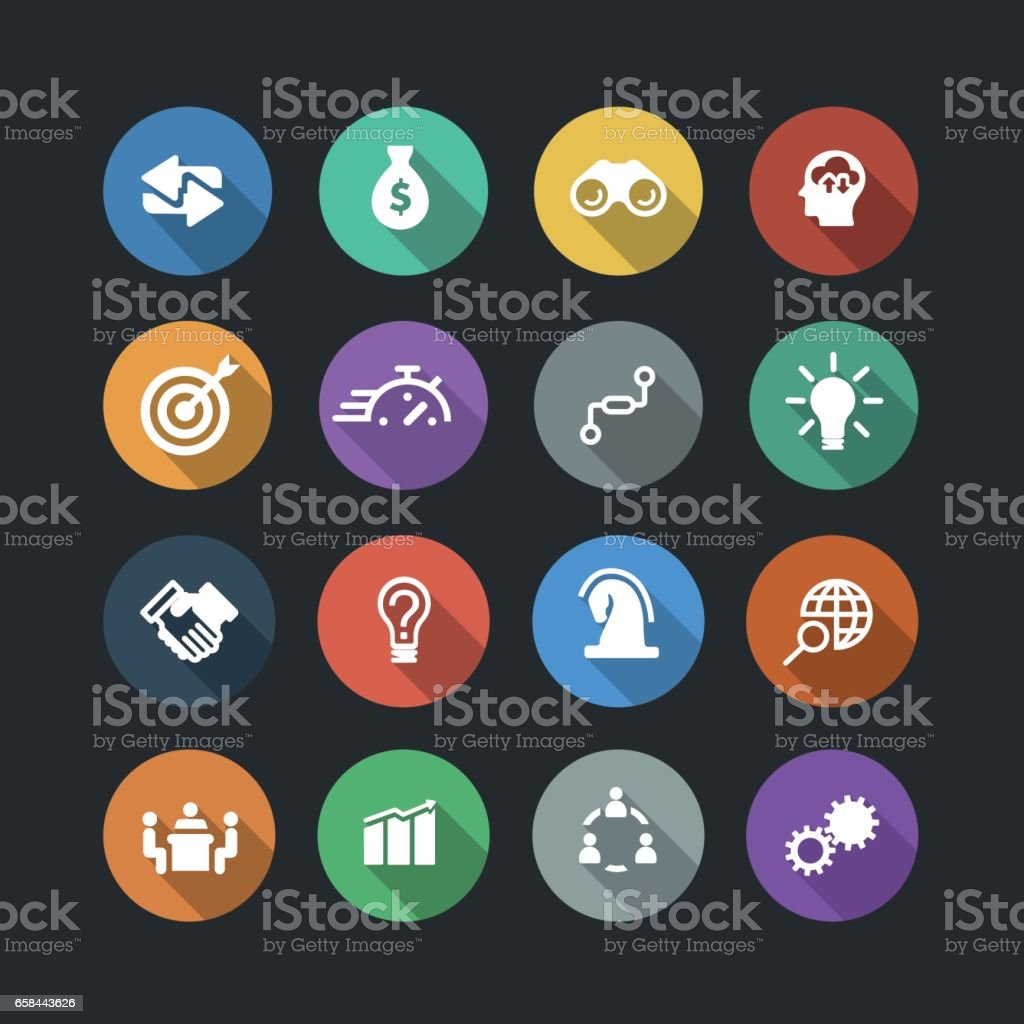 Business Solutions Icons vector art illustration