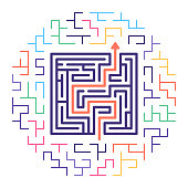 Line vector icon illustration of business solutions with maze like background.