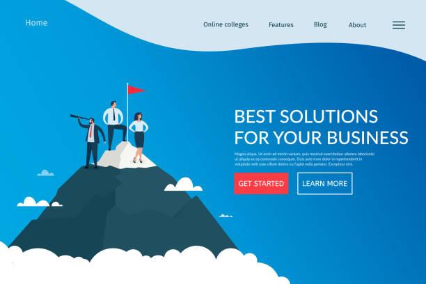 Business solutions, marketing, success team work. vector art illustration