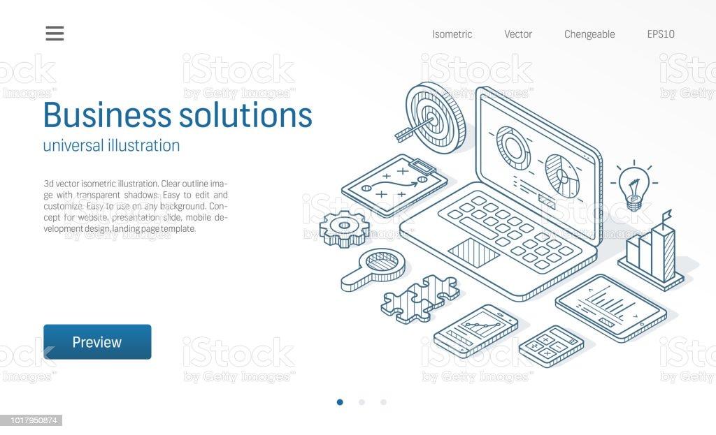 Business Lösungen Moderne Linie Isometrische Darstellung Plan Ziel