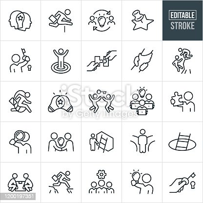 A set of business solutions icons that include editable strokes or outlines using the EPS vector file. The icons include business people, businessmen, two heads together, businessman jumping a hurdle, two business people with lightbulb, a business person with a key to a lock, business person standing on a target with hands in the air, two hands putting two jigsaw puzzle pieces together, to hands clasped together, business person reaching for another person on a cliff, businessman jumping through a hoop, two lightbulbs overlapping, two business people jumping for a key over head, three business people seated at laptops and a lightbulb over head, business person holding up a jigsaw puzzle piece, businessman looking through a magnifying glass, two business people shanking hands with a lightbulb between them, a ladder against a wall, a business person at a fork in the road, a ladder coming out from a pit, two business people using teamwork to lift a box, a business person jumping a gap between cliffs, three business people and a cog, a business person holding up a lit lightbulb and a hand holding a key.