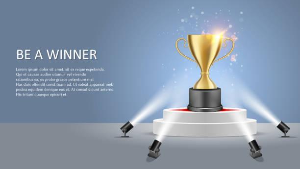 stockillustraties, clipart, cartoons en iconen met business sport winnaar vector poster websjabloon voor spandoek - kampioenschap