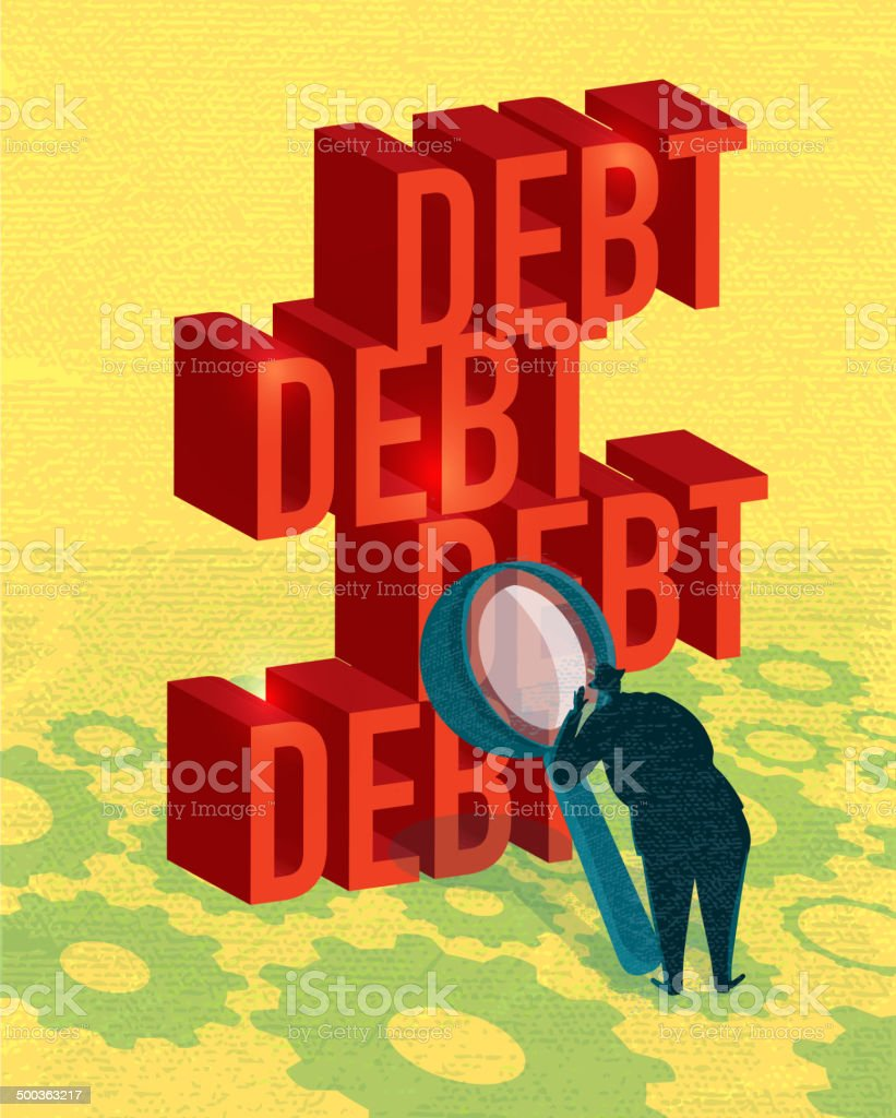 Business stacked up examining debt concept royalty-free stock vector art