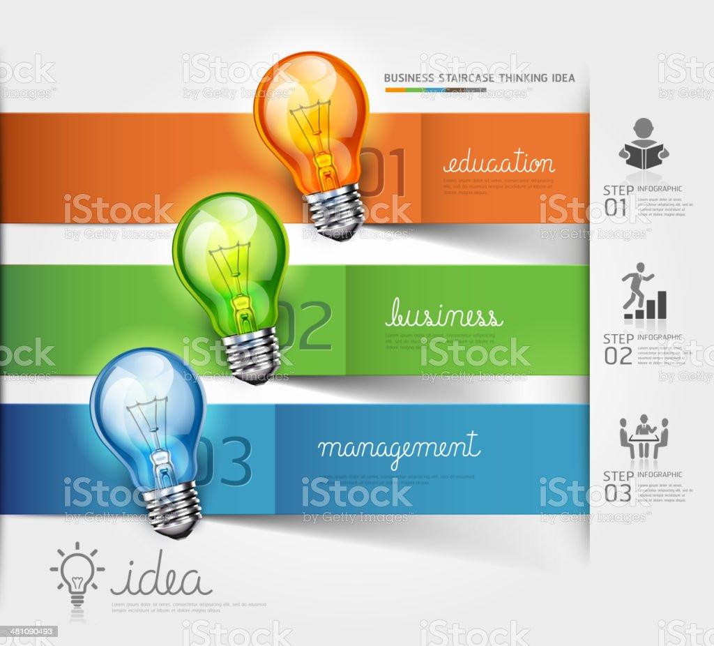 Business Stairstepper, der Lösung, Idee und Glühbirne Konzept. – Vektorgrafik
