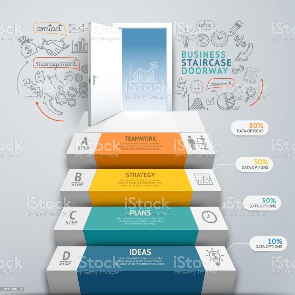 Treppe, Tür Business Konzept Infografiken. – Vektorgrafik