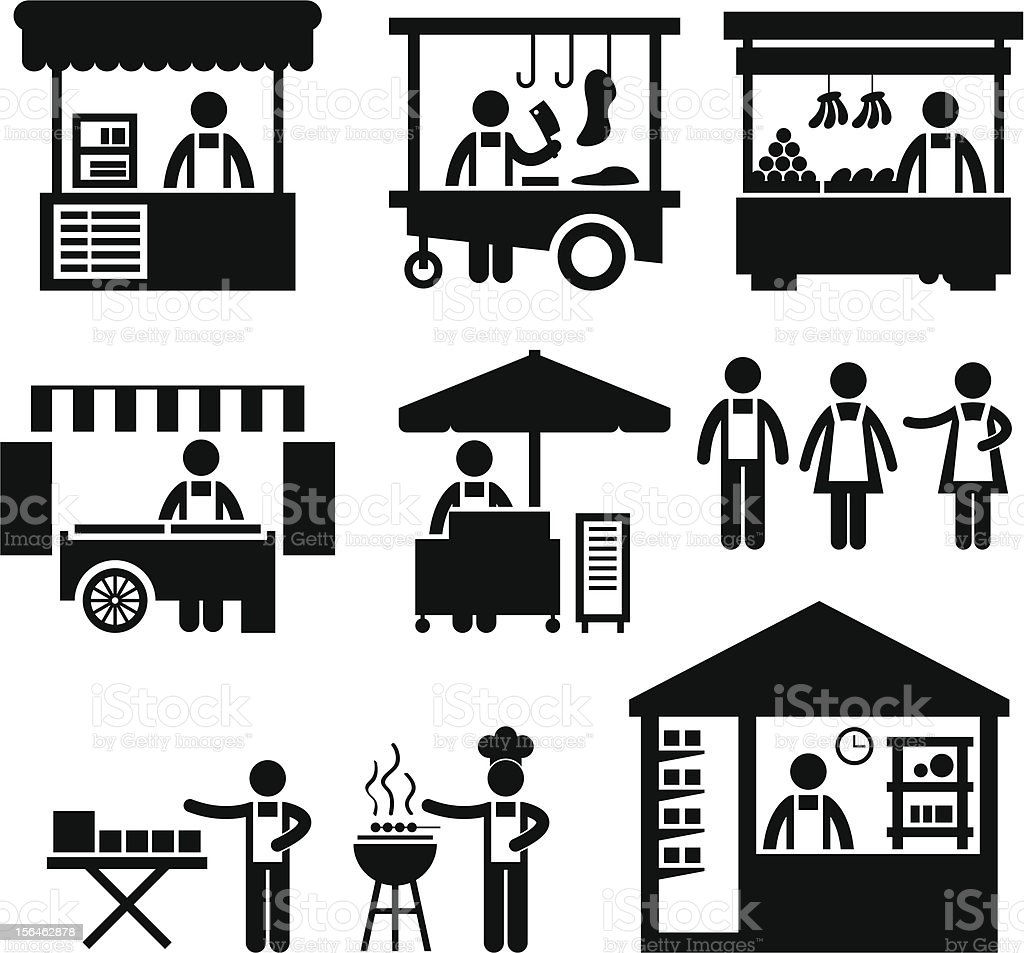 Business Stall Store Booth Market Pictogram vector art illustration