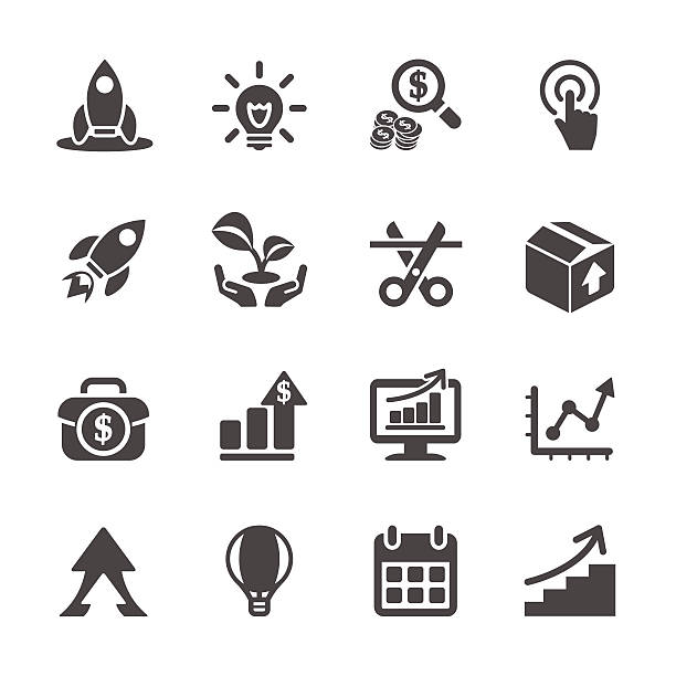 business start up icon set, vector eps10 business start up icon set, vector eps10. 21st century stock illustrations