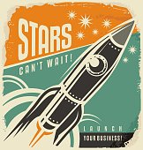 Business start up motivational flyer layout with rocket launch