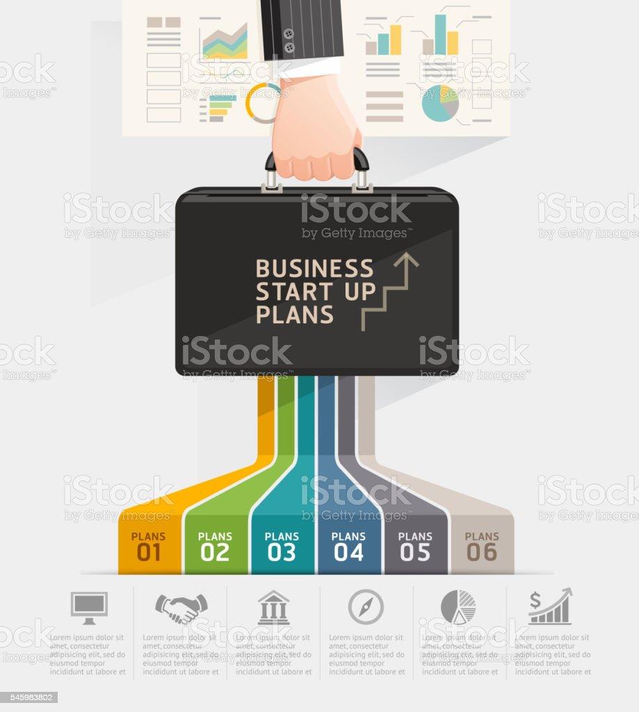 Business start up planning concept. Businessman hand holding briefcase bag. – Vektorgrafik