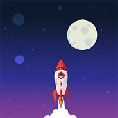 istock Business start up, Rocket launch up to the space. 1255365235