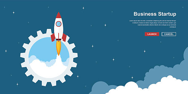 business startup banner Picture of rocket flying above clouds, business startup banner concept, flat style illustration adventure backgrounds stock illustrations