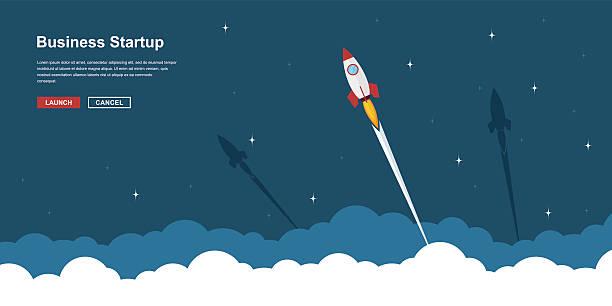 stockillustraties, clipart, cartoons en iconen met business startup banner - ruimte exploratie