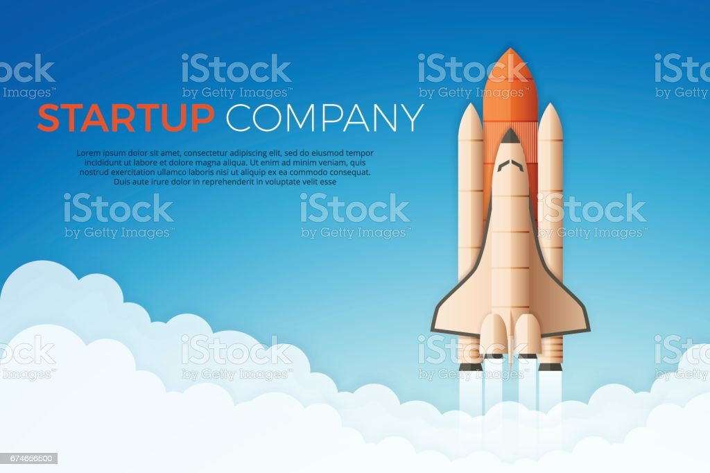 Business startup concept. Rocket or space shuttle launch. vector art illustration