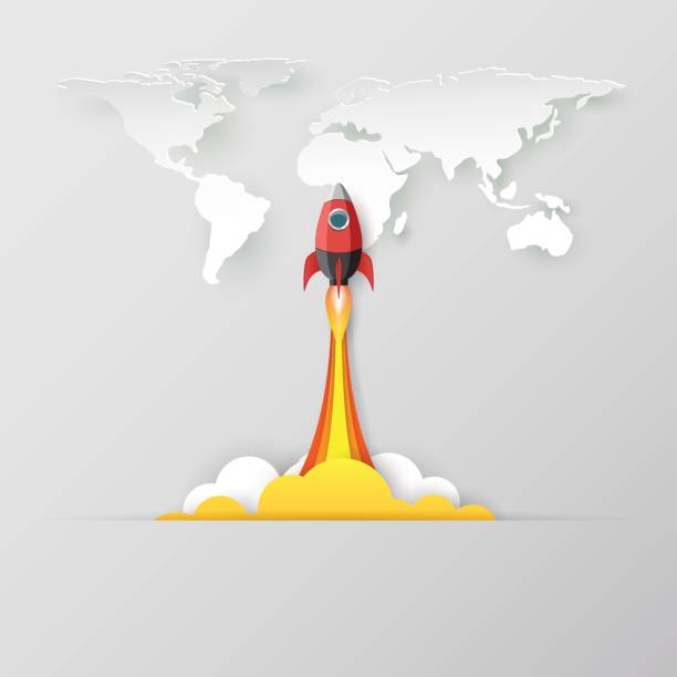 business startup concept with rocket icon. - abstract of paper spaceship launch to space stock illustrations, clip art, cartoons, & icons