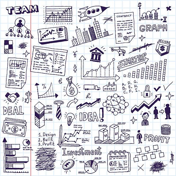 Business startup doodle sketch concept set 2. Business startup doodle sketch concept set 2. Hand drawn vector illustration. School notebook. business drawings stock illustrations