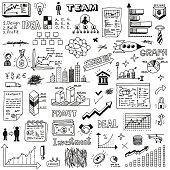 Business startup doodle sketch concept set 2. Hand drawn vector illustration.