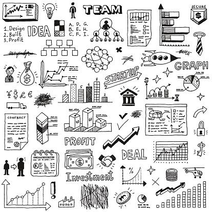 Business startup doodle sketch concept set 2.