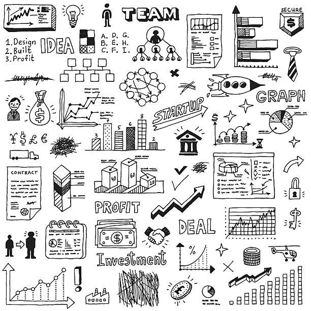 Business startup doodle sketch concept set 2. Business startup doodle sketch concept set 2. Hand drawn vector illustration. business drawings stock illustrations