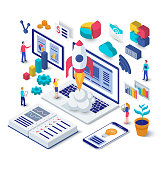 Business startup isometric concept. Rocket launch from the laptop. Flat design 3d vector illustration of a team working on a new project.