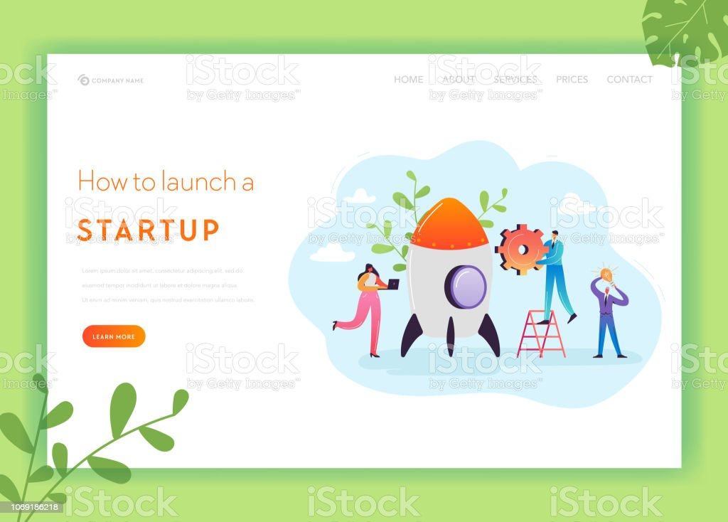 Business Startup Landing Page Template Investment Career Boost And Strategy Banner With Characters Launches Rocket Teamwork Innovation Web Page Vector Illustration Stock Illustration Download Image Now Istock